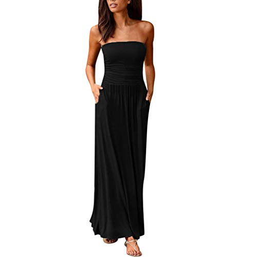 Youmymine Womens Off Shoulder Bandeau Dresses Ladies Summer Holiday Solid Color Evening Long Maxi Dress (S, Black)