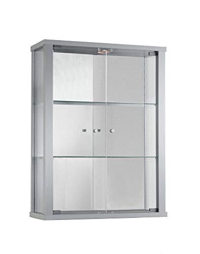 K-Möbel Glashängevitrine Glasvitrine Spiegel Beleuchtung Hängevitrine mit LED in Silber mit 2 Glaseinlegeböden 80x60x25 cm