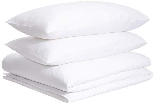 (AmazonBasics Organic Percale Duvet Cover Set - Full/Queen, White)
