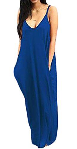 Maxi Spiaggia Coolred Profondo Vestito Solidi Blu Fionda donne Scollo A V Tasche w7z8Zw