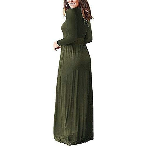 De Confortable Longue Manches Élégante Paolian Vert Couleur Et Taille Longues À Unie Jupe O5xHwTq