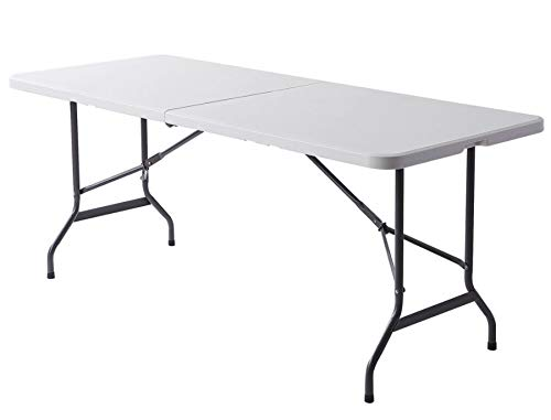 (Realspace Molded Plastic Top Folding Table, 6' Wide Fold in Half, 29