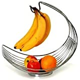 Fruit Bowl Fruit Holder New Style Wire Display Basket with Banana Hanger Hook Chrome