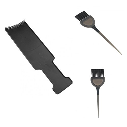 Baoblaze 3 Pack Professional Hair Salon Coloring Comb Board Tinting Highlighting Plate Hair Dye Brushes Set ()