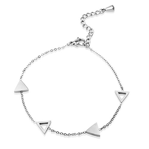(555Jewelry Womens Stainless Steel Cute Dainty Minimal Triangle Shape Charm Polished Adjustable Geometric Fashion Jewelry Accessory Girls Children Anklet Bangle Bracelet, Silver)