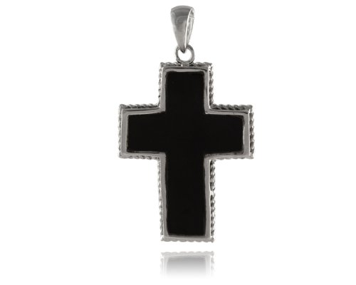 Amazon onyx cross pendant with twisted rope frame 925 sterling onyx cross pendant with twisted rope frame 925 sterling silver aloadofball Images