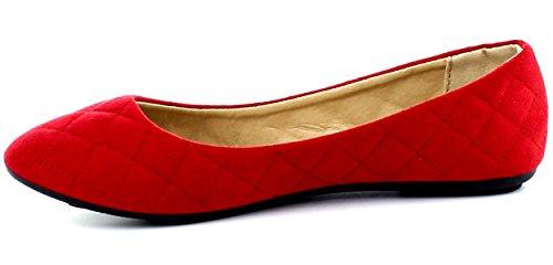 Refresh Footwear Womens Quilted Round Toe Ballet Flat Red u6ShZ761