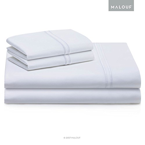 MALOUF WOVEN SUPIMA Premium Cotton Sheets - 100 Percent American Grown - Extra Long Staple - Sateen Weave - Extra Deep Pockets - Single Ply - 600 Thread Count - (600 Supima Set)