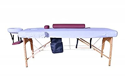 "2.5"" Burgundy Massage Table Portable Facial SPA Bed W/Sheet+Cradle Cover+Bolster+Hanger"