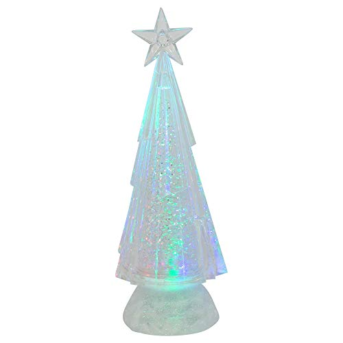 (Roman Swirling Chiseled Tri Color LED Acrylic Holiday Tree Figurine Set of 2)