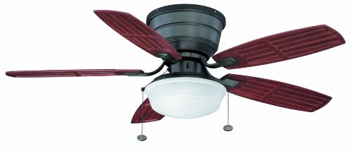 """Litex BNH44NI5C1S Gannon Collection - 44"""" Ceiling Fan, Natural Iron Finish with Mahogany Blades"""