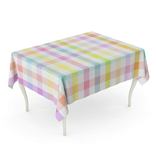Emvency Rectangle Tablecloth 60 x 102 Inch Blue Pastel Colorful Plaid Printing Pattern Green Abstract Checkered Classic Material Modern Table -