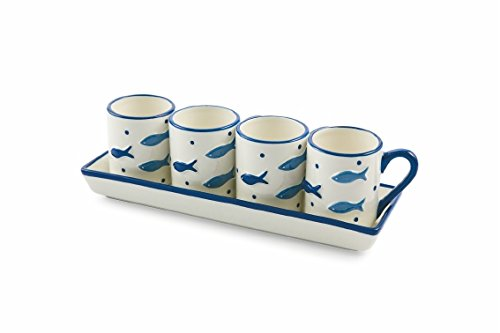 Villa d 'Este Home Tivoli Fish Set Espresso Cups with Tray, Hard Dolomite, White/Blue, 5Units