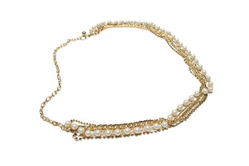 Deal Fashionista Gorgeous 4 Strands Rhinestones Pearls Chain Belt (Gold)