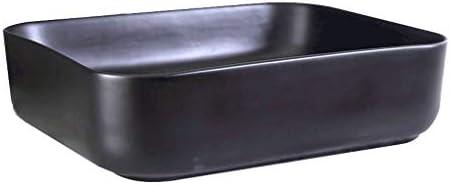 DS- バスルームの洗面台、カウンタ流域単純な技術の単一流域(タップ無し)、50X40X13cm上記セラミック化粧家庭シンク 洗面ボール && (Color : Black)