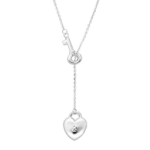 Just Gold Heart Lock & Key Lariat Necklace in 14K White Gold Lariat White Gold Necklace