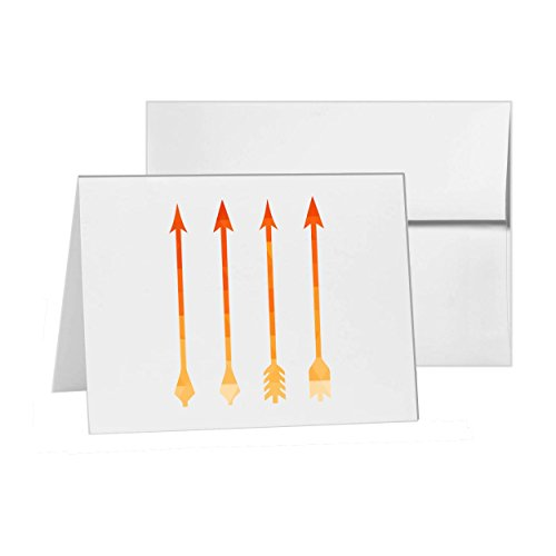 Arrows Archery Bow And Hunting Medieval Native, Blank Card Invitation Pack, 15 cards at 4x6, Blank with White Envelopes Style 6849 (Finial Arrow)