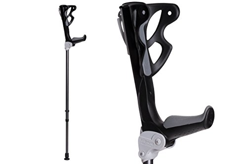 Ergodynamic Forearm Crutches By FDI (Size: 4'7-6'8) 1 Pair/2 Crutches / Black / Lightest Crutch with an Integrated Shock Absorber (M (132-198lbs) spring rate) by FDI