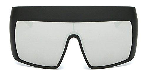 Slocyclub New Hip Fashion Mirrored Flat Top Oversized Goggle - Hip For Sunglasses Men