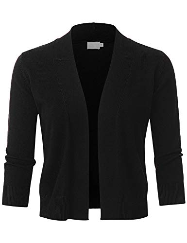 (JSCEND Womens Classic 3/4 Sleeve Open Front Cropped Bolero Cardigan Black XL)