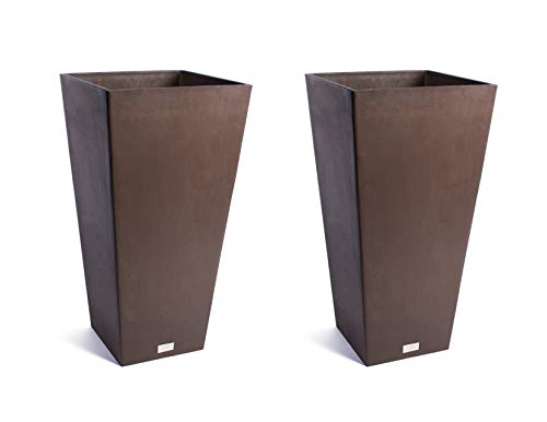 Veradek Midland Tall Square Planter - Espresso- 28 in.-2 Pack