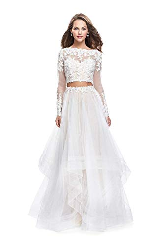 (La Femme 25300 Two-Piece Illusion Appliqued Bodice Tulle Gown in White)