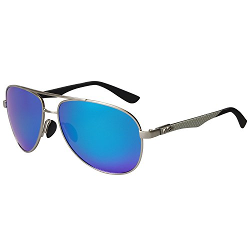Aoron Aviator Polarized Sunglasses Blue Mirrored Lenses Lightweight (Blue Mirrored)