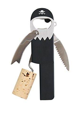 Suck UK SK BOPIRATE1 Pirate Beer & Wine Bottle Opener | Waiter's Friend Stainless Steel Bartender Tool | Corkscrew/Foil Cutter & Keychain, Multicolor -