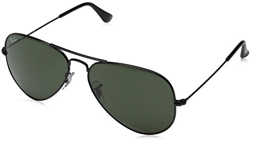 Ray-Ban 0RB3025 Aviator Metal Non-Polarized Sunglasses, Black/ Grey Green, 58mm