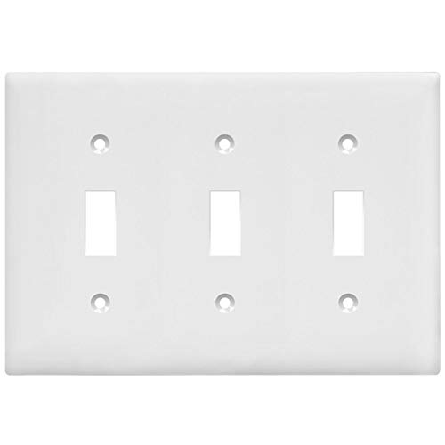 Enerlites Toggle Light Switch Wall Plate, Standard Size 3-Gang, Polycarbonate Thermoplastic, White 8813-W