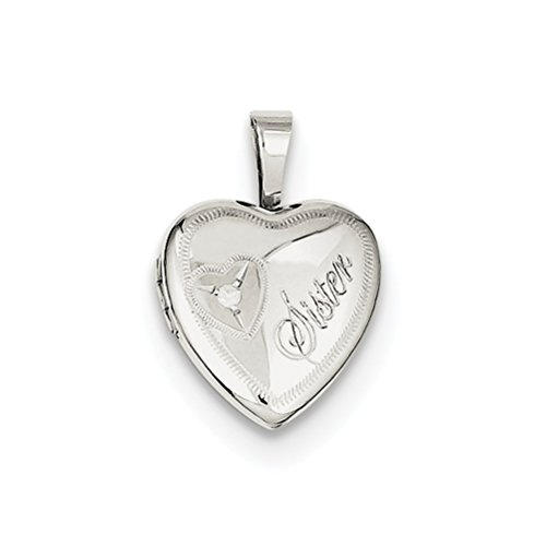 Sterling Silver 'Sister' Diamond Heart Locket by The Men's Jewelry Store (for HER)