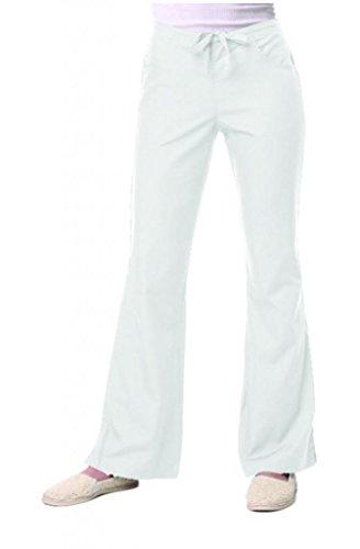 maevn Womens V-neck Dos Pocket Scrub superior y Flare leg Pant Set blanco