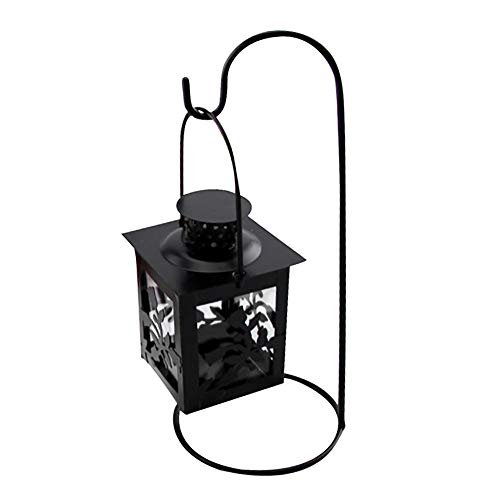 Iron Tealight - Iron Candlestick Holders, Pausseo Hollow Hanging Lantern Vintage Retro Lantern Wrought Handmade Tealight Candle Holder with Windproof Cup Holder Romantic Home Dinner Wedding Decoration