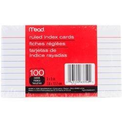 Bulk Buy: Mead  Index Cards 3in. x 5in. 100/Pkg Ruled White