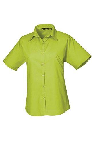 Short Sleeve Vert Citron Poplin Premier Femme Workwear Blouse Ladies t6EwxqS
