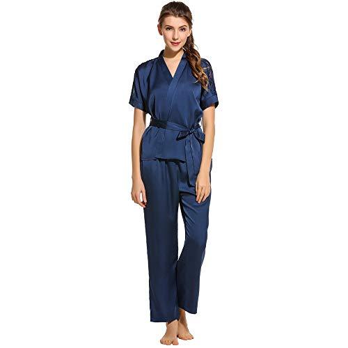 JYHTG Elegante Pigiama Set Sexy Top Kimono In Raso Con Scollo A V E Pantaloni Da Notte Per La Sposa Da Sposa Femminile M
