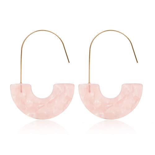 - MUYIXIN Hoop Tortoise Earrings Women Acrylic Bohemian Statement Earrings Wire Drop Dangle Earrings Fashion Jewelry (Pink)