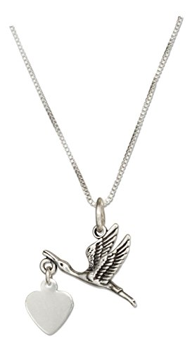 Sterling Silver 18 inch Stork Necklace with Dangling Heart Expecting Mother (Dangling Heart Pendant)