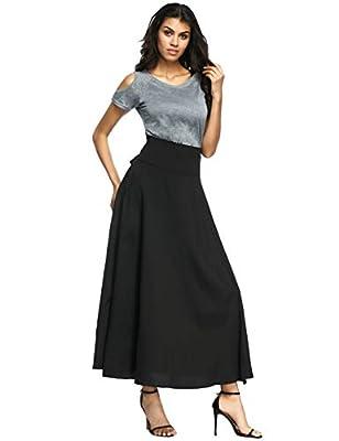 Calvin & Sally Women's Casual Flowy Dress High Waist Pleated Midi Skirt with Pockets