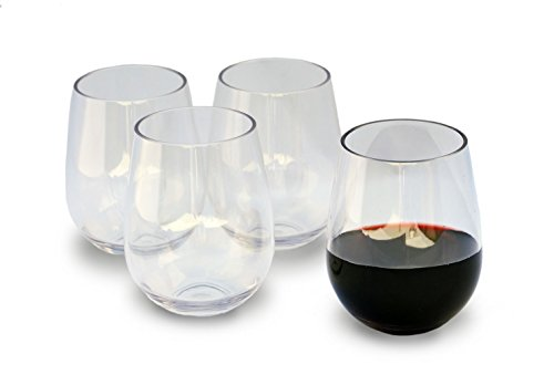 Unbreakable Stemless Wine Glasses, 16 Ounce Set of 4 by Candaven Home, Heavy Gauge Triton Plastic, BPA Free, Shatterproof, Crystal Clear