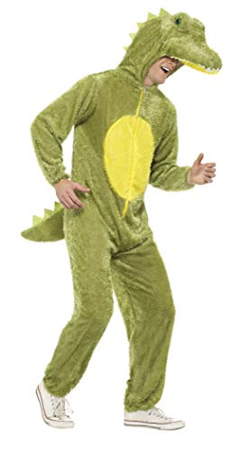 (Smiffys Adult Unisex Crocodile Costume, Jumpsuit with Hood, Party Animals, Serious Fun, Size L,)