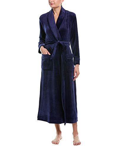 Carole Hochman Women's Luxe Velour Long WRAP Robe, Navy S/M