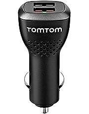 TomTom Dubbele USB auto-snellader (geschikt voor alle TomTom navigatieapparaten, bijv. Start, Via, GO Basic, GO Essential, Rider, GO Professional, GO Camper)