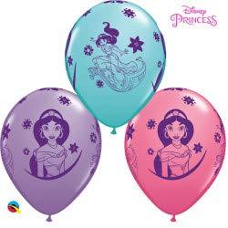 Qualatex 87472 Disney Aladdin Princess jasmine 11 Inch Latex Balloons (Mixed Colours, 5 Pack)