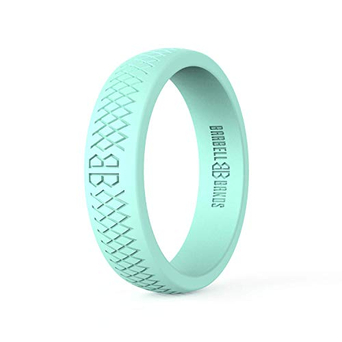 Barbell Bands Silicone Ring for Women | Premium Rubber Wedding Band | Perfect for Fitness, Lifting, Active Lifestyle - Comfortable and Durable