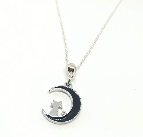 Cat on the Moon Silver Plated Enamel Pendant Heart Bail Necklace