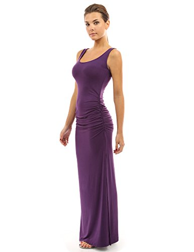 Ruched Jersey Dress - PattyBoutik Women's Sleeveless Summer Maxi Dress (Medium Purple S)