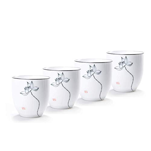 Chinese Tea Cup, QMFIVE Hand Painted Ceramic Tea Cup - 4pcs(BKH) (Painted Teacup Hand)