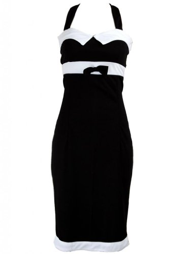 Black Bow White Trim Pinup 1950s Rockabilly Pencil Women's Dress - Small