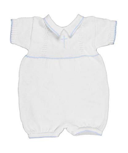 Blue 100% Cotton Baby Boy's Christening Baptism Romper w/Cross 6 Month